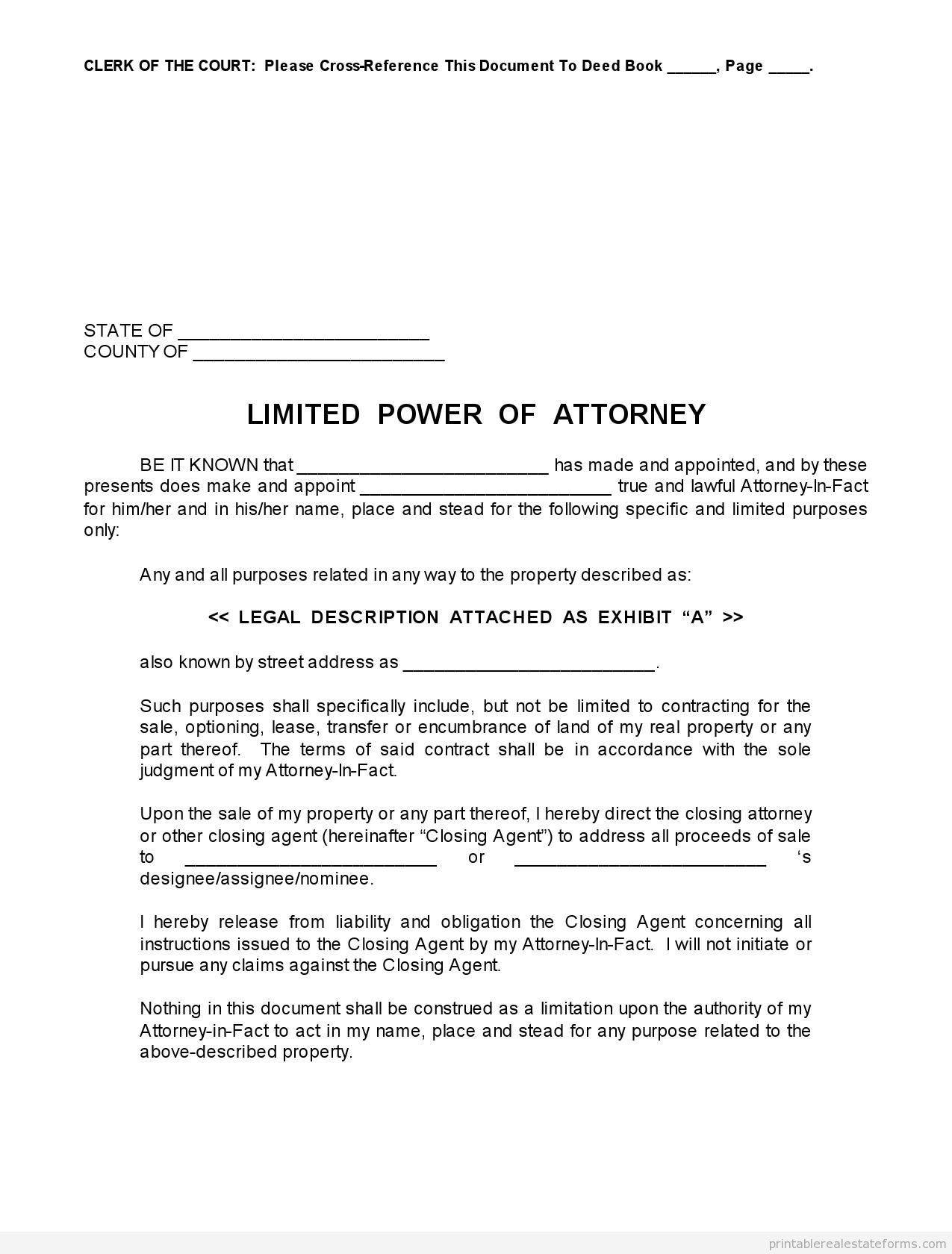 Sample Limited Power Of Attorney Forms