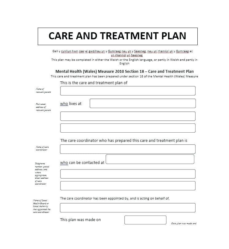 Sample Mental Health Treatment Plan Template