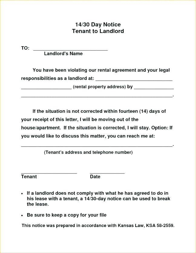 Sample Notice To Vacate From Tenant