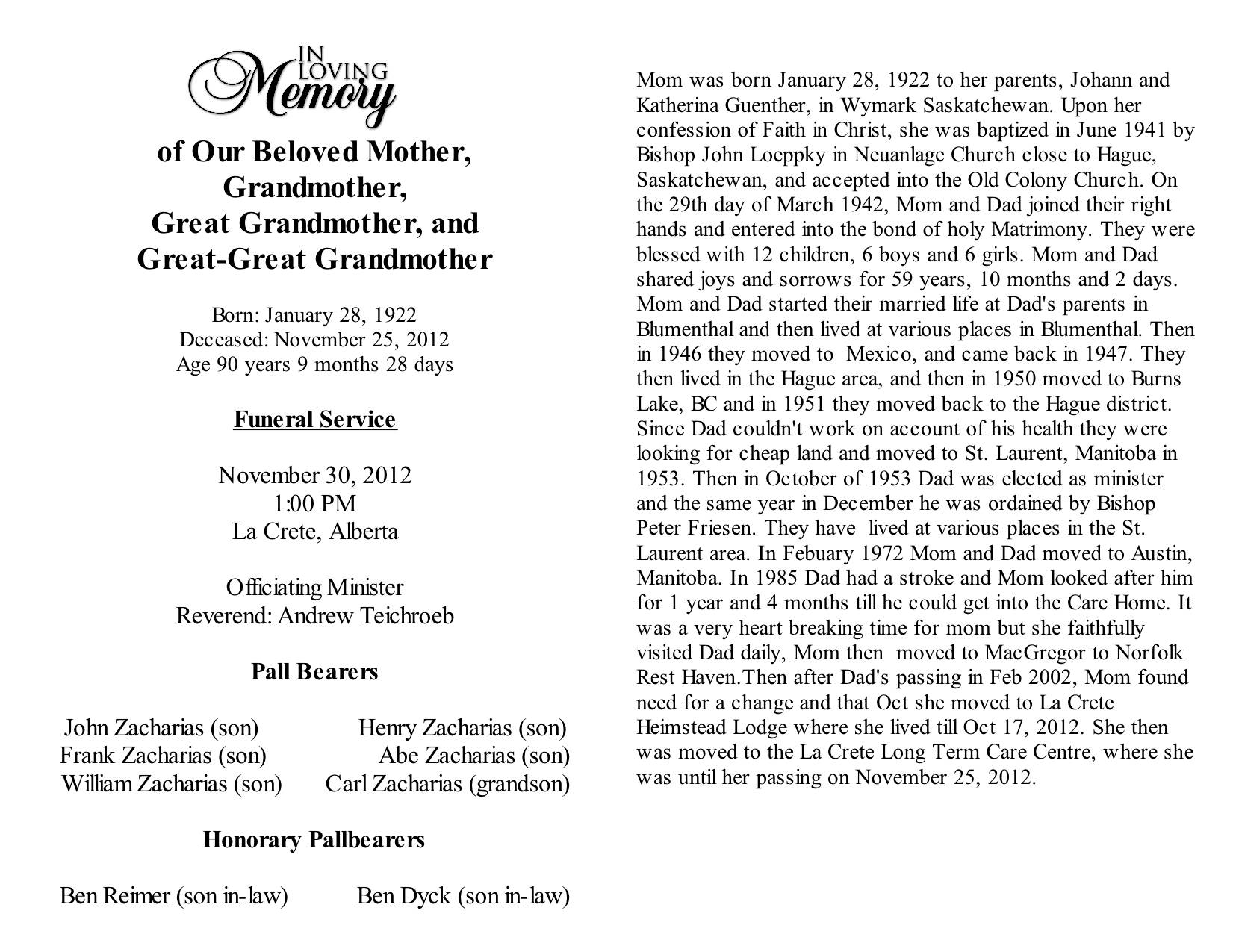 Sample Obituary For Mother Template