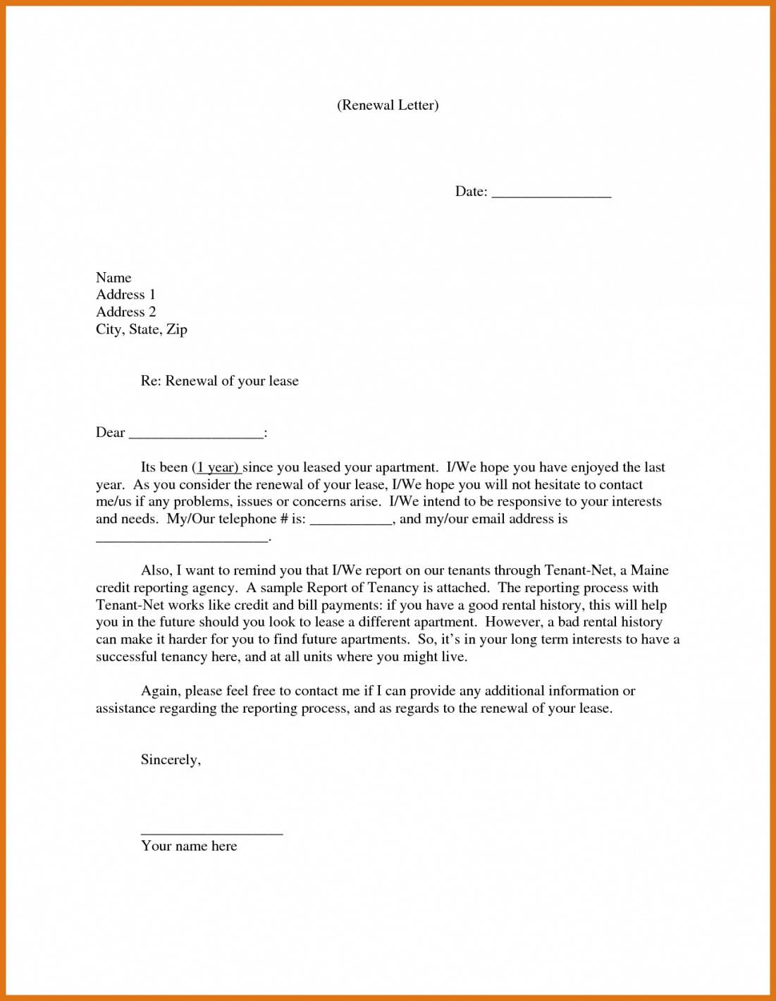Sample Of Lease Agreement Renewal