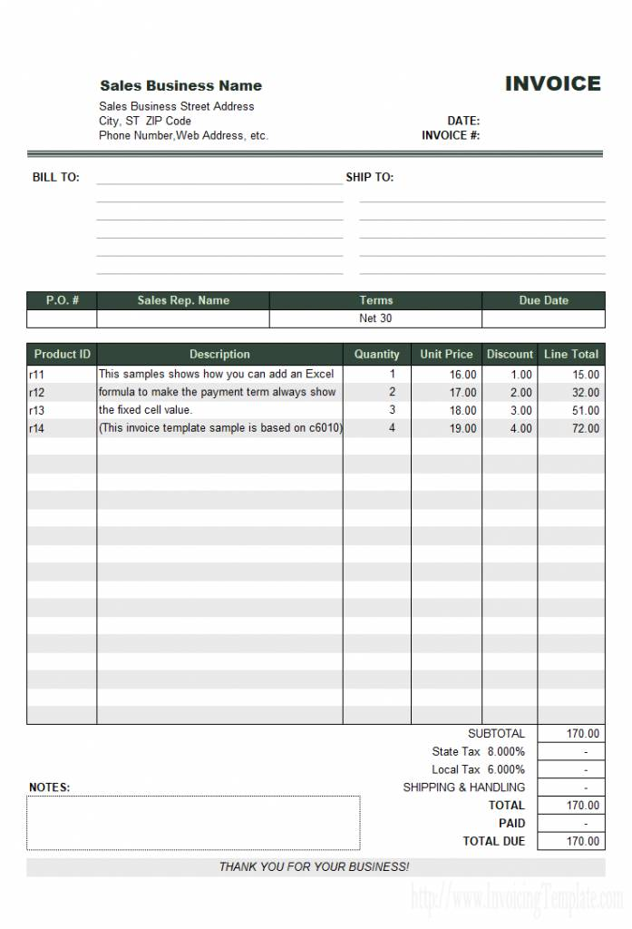 Sample Paid Invoice Template