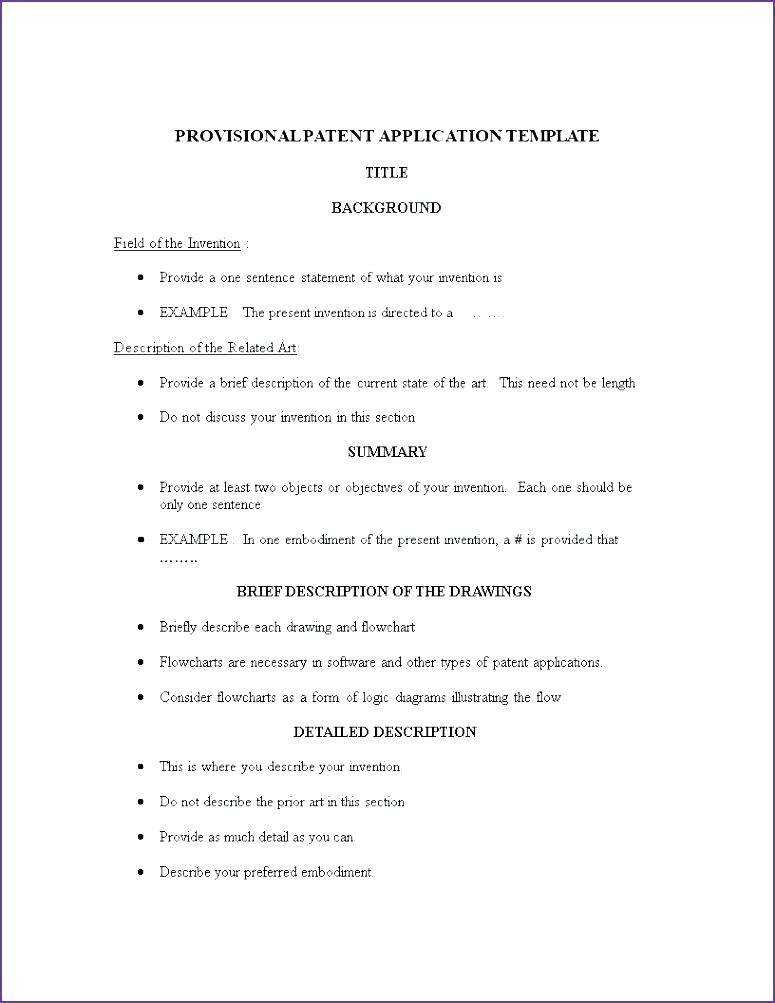 Sample Patent Application Template