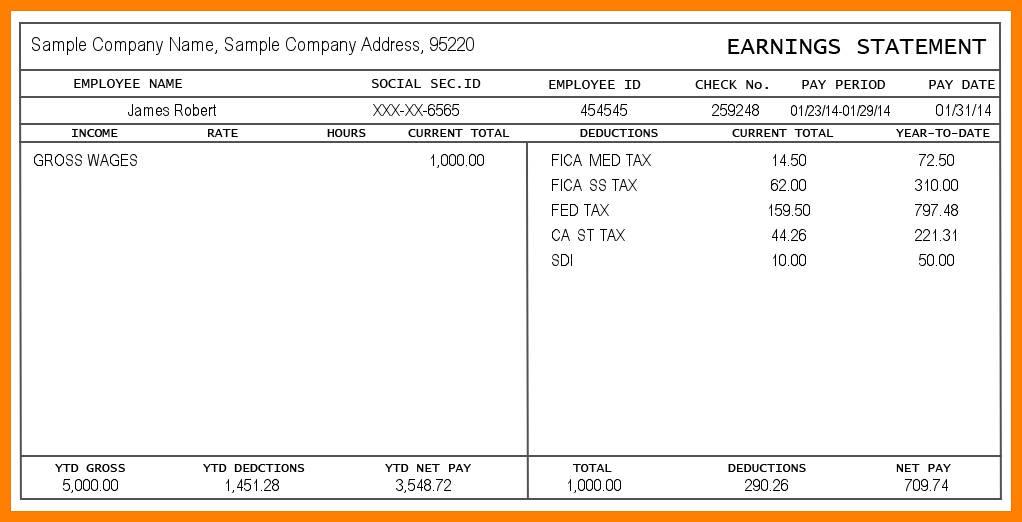 Sample Pay Stubs Online