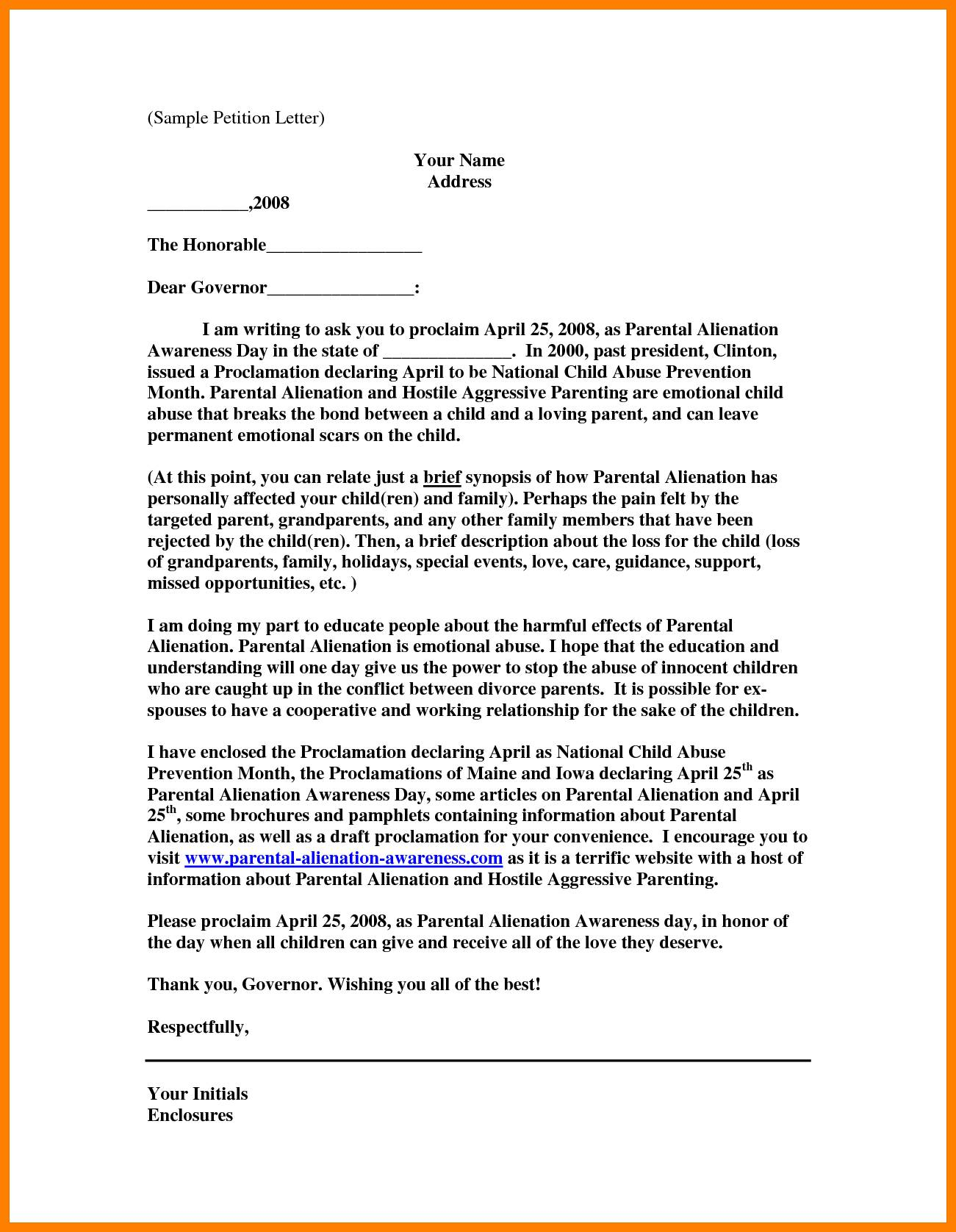 Sample Petition Letter Template