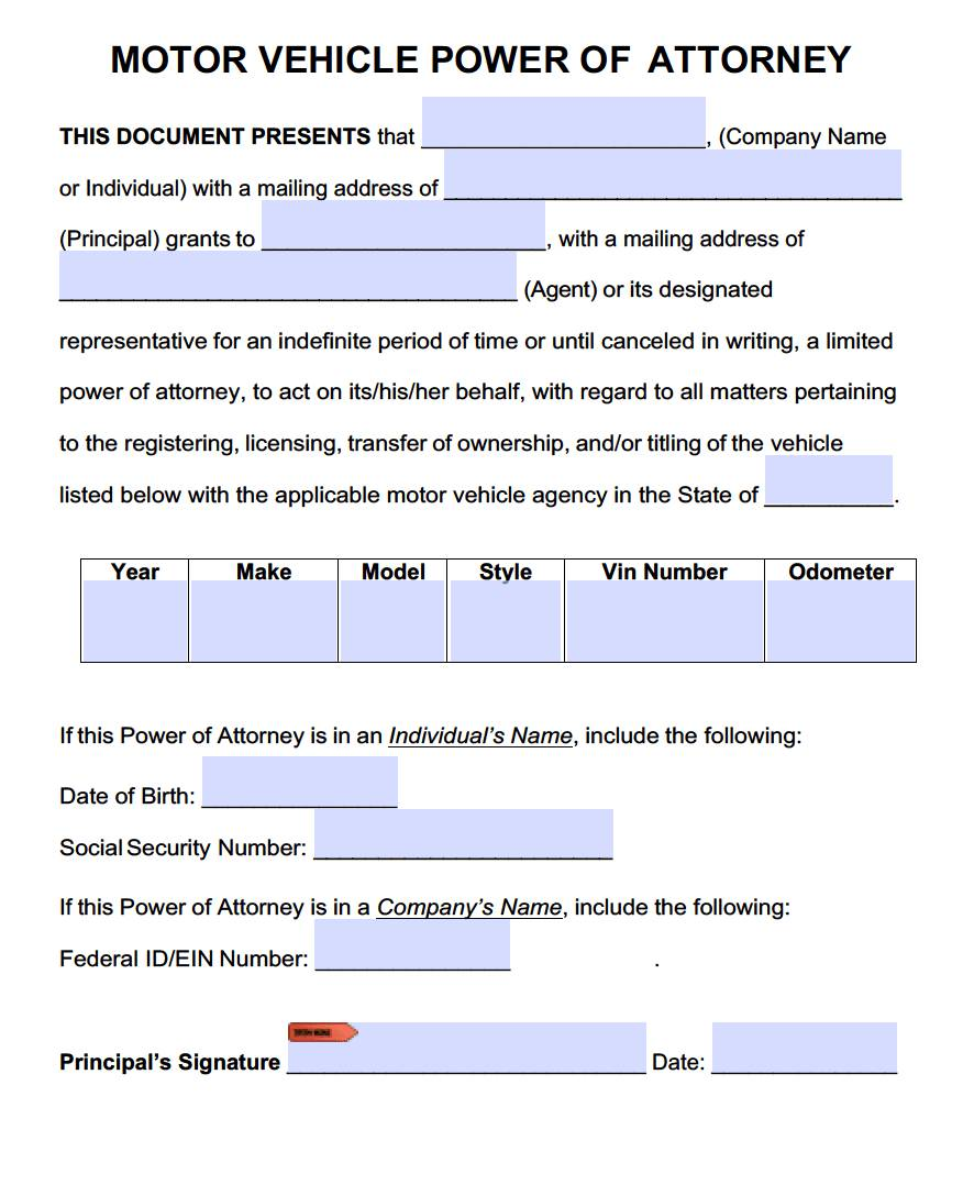 Sample Power Of Attorney For Vehicle Transactions