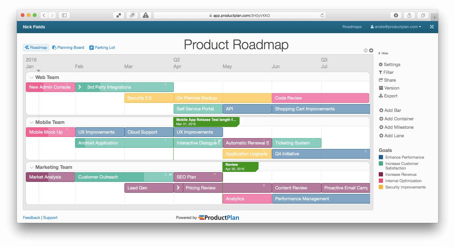 Sample Product Roadmap Template