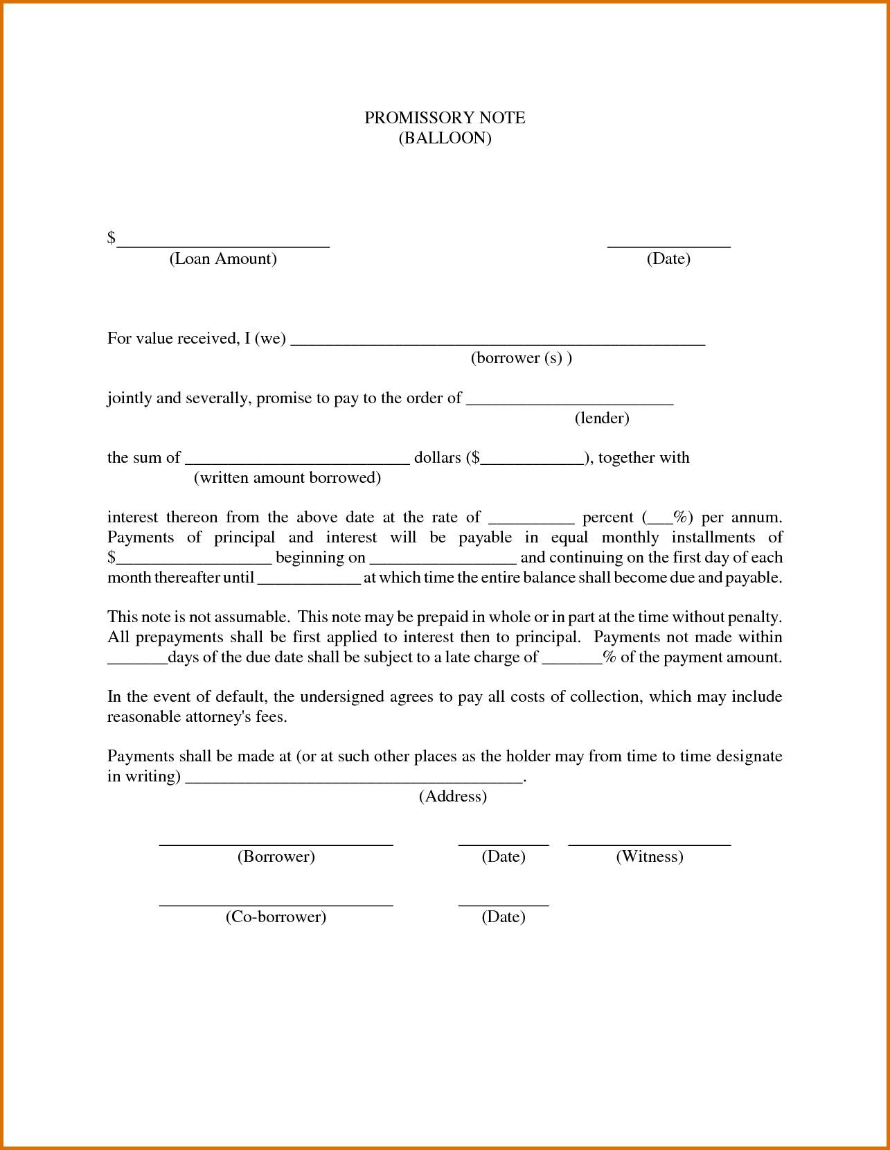 Sample Promissory Note Template Free