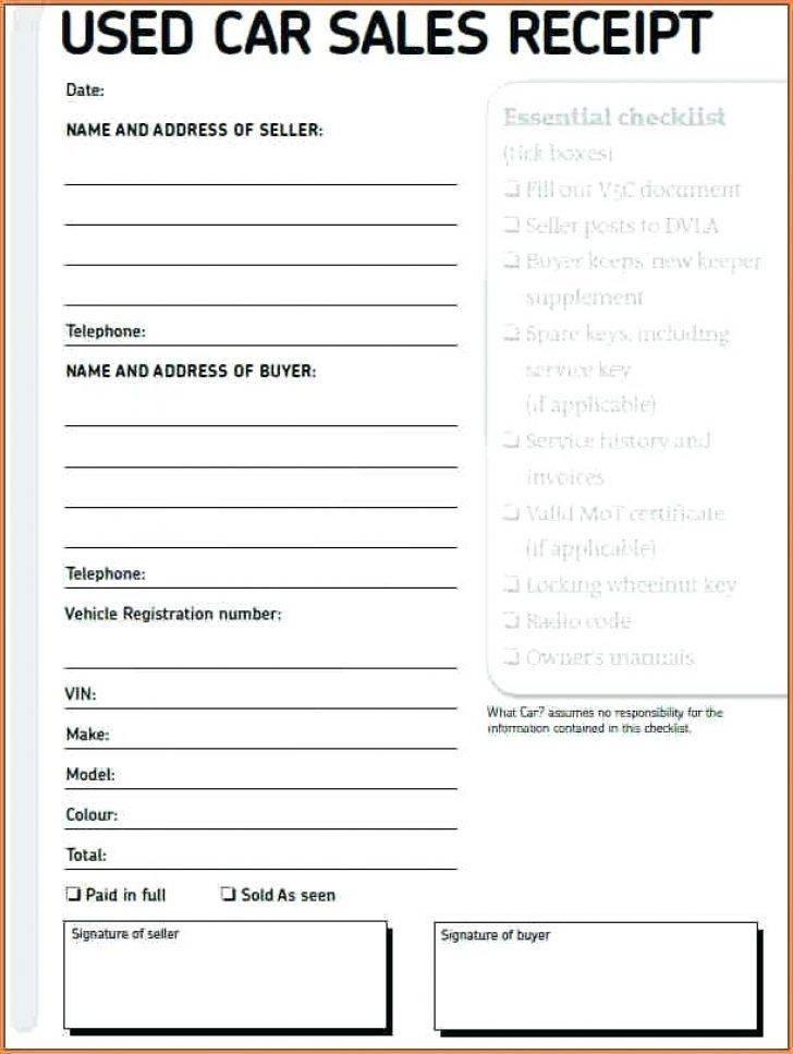 Sample Receipt For Car Sale