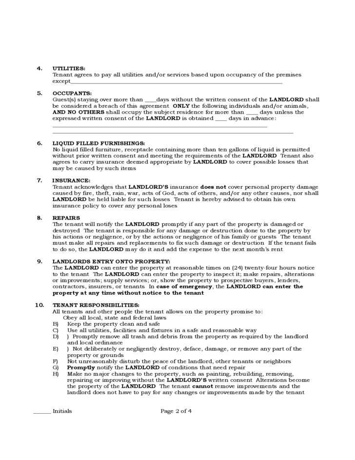 Sample Residential Lease Agreement Pennsylvania