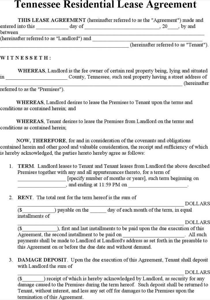 Sample Residential Lease Agreement Tennessee