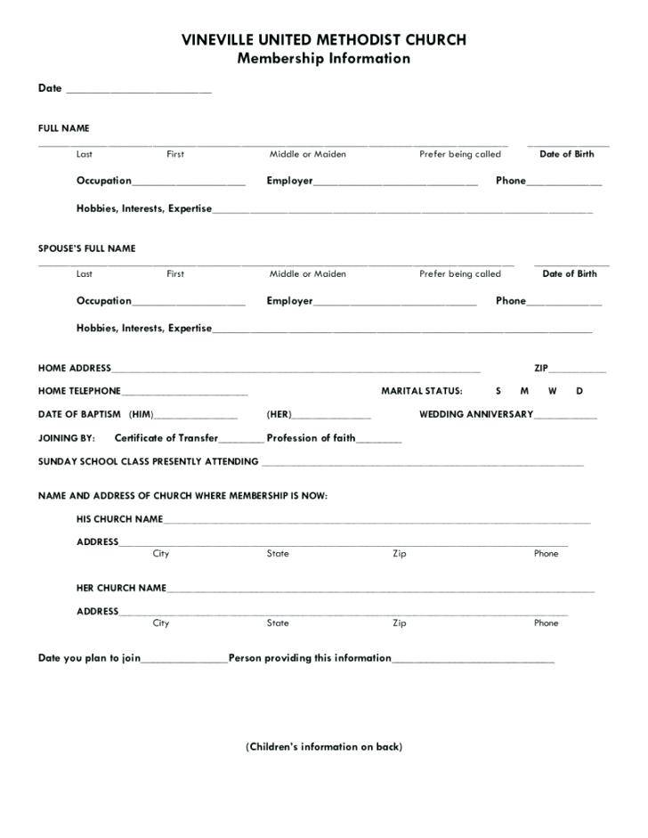 Sample Resume Church Membership Form Template
