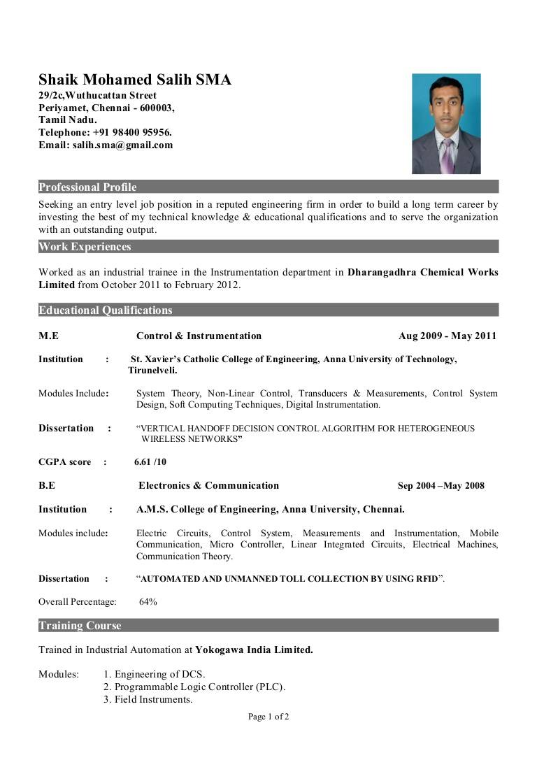 Sample Resume Templates For Engineers