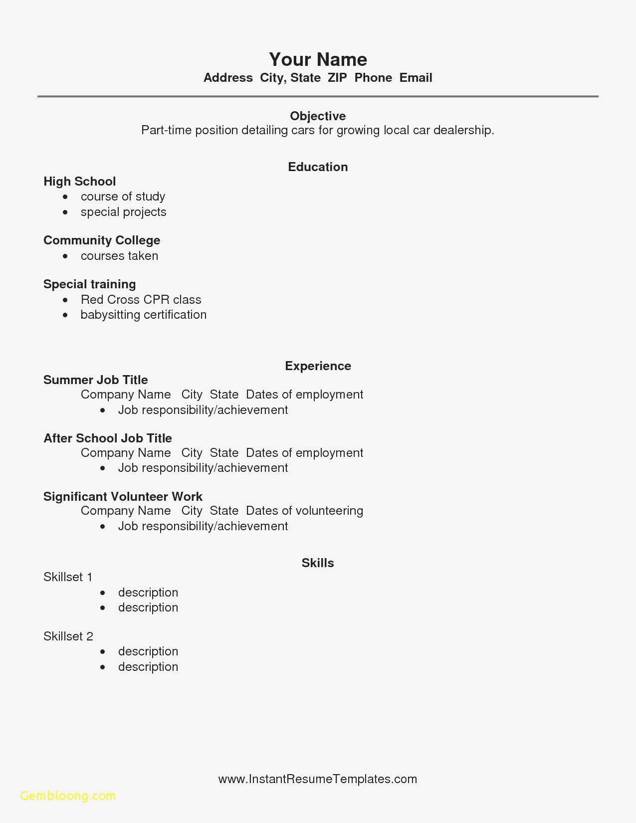Sample Resume Templates For Highschool Students
