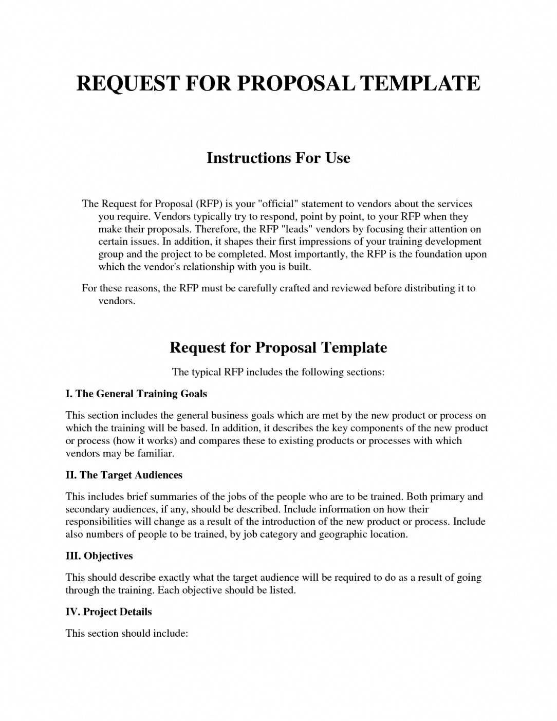 Sample Rfp Proposal Template