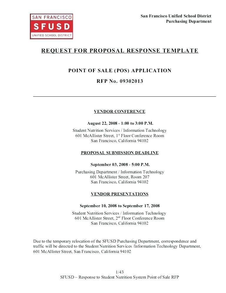 Sample Rfp Response Document Template