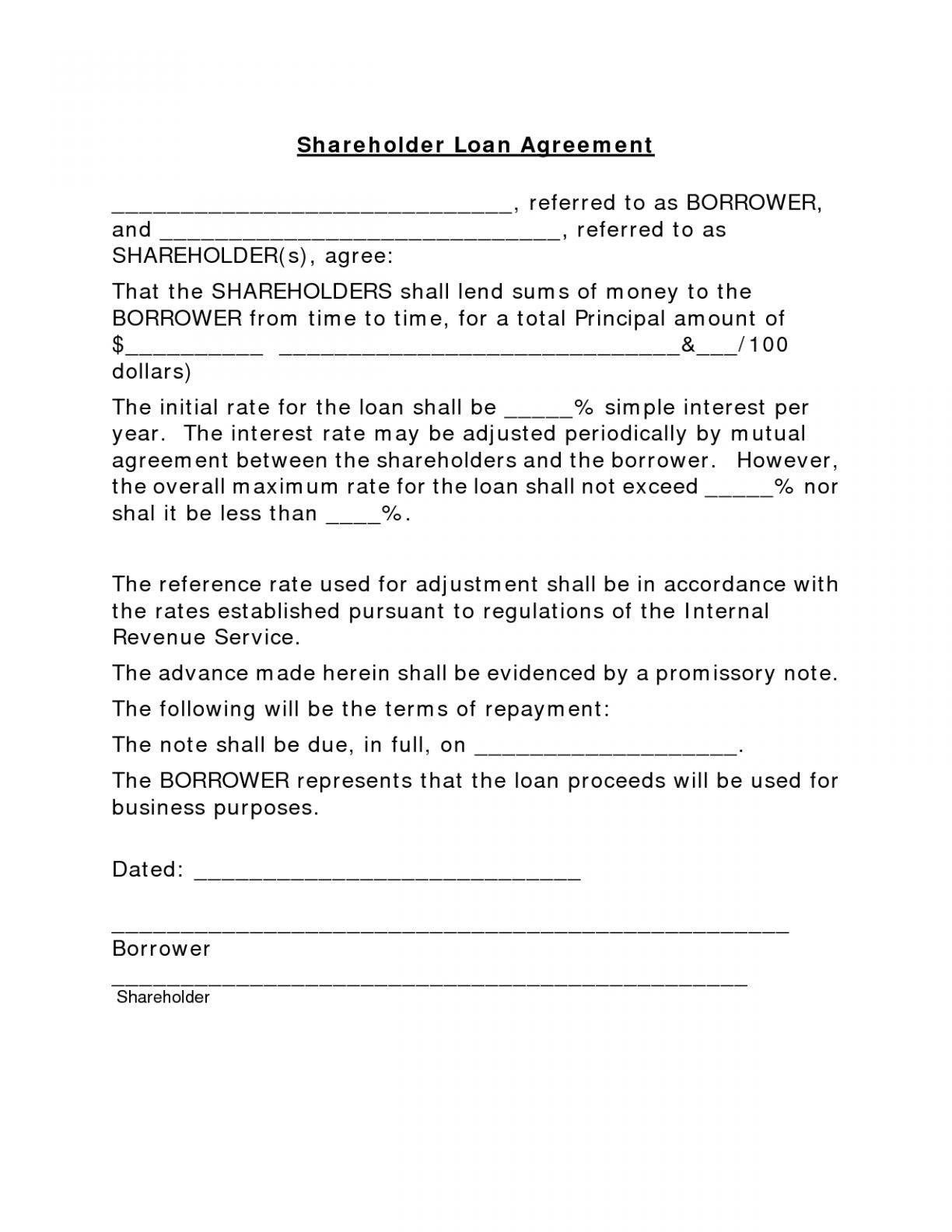 Sample Shareholder Loan Agreement Template