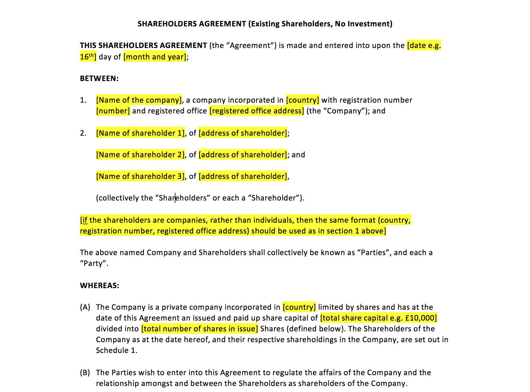 Sample Shareholders Agreement Malaysia