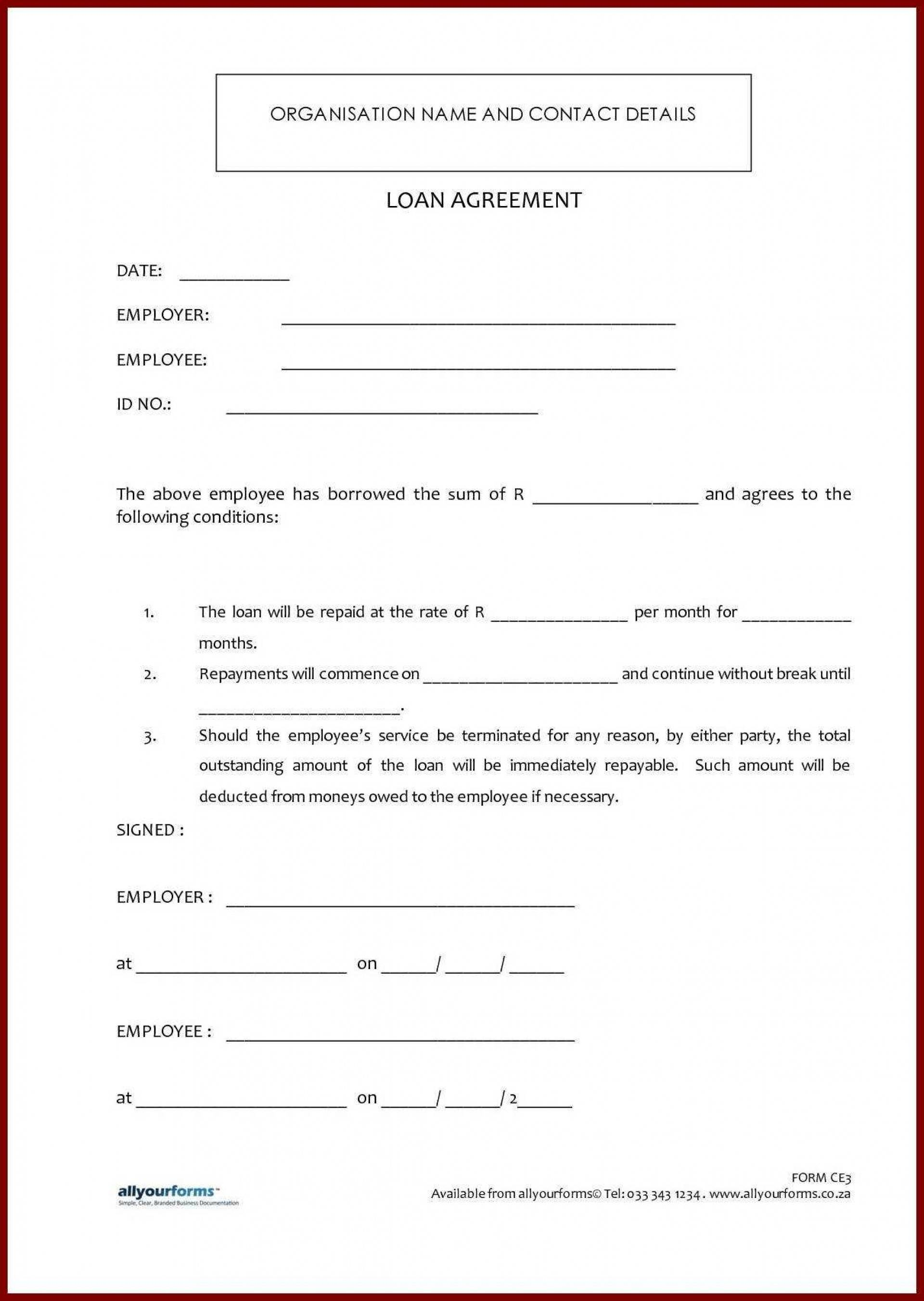 Sample Simple Loan Agreement Template