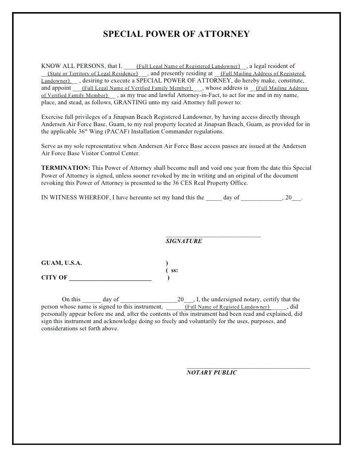 Sample Special Power Of Attorney Document