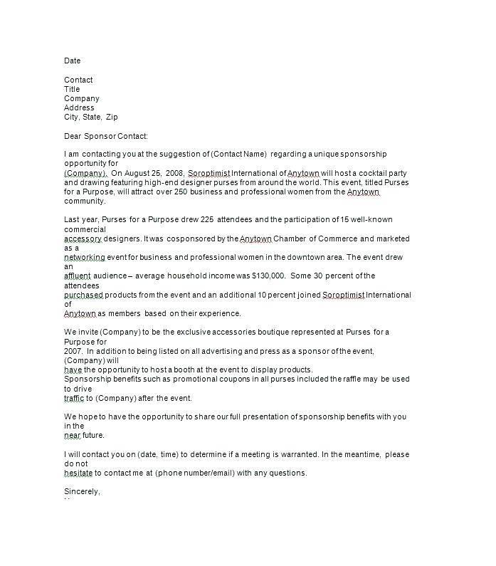 Sample Sponsorship Letter For Donations Template