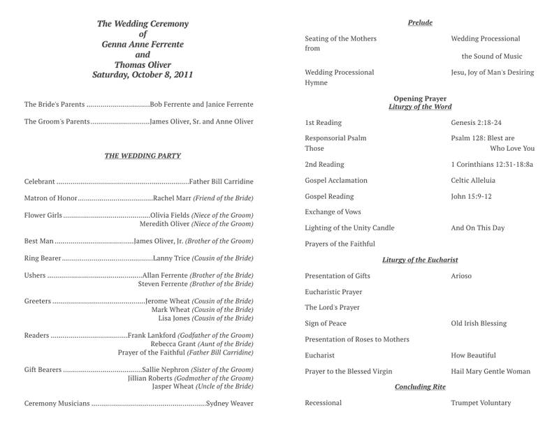 Sample Template For Church Programs
