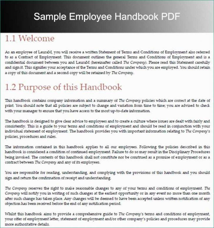Sample Template For Employee Handbook