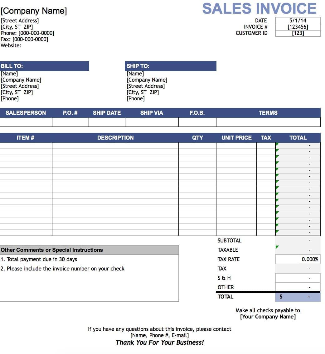 Sample Template Invoice Excel