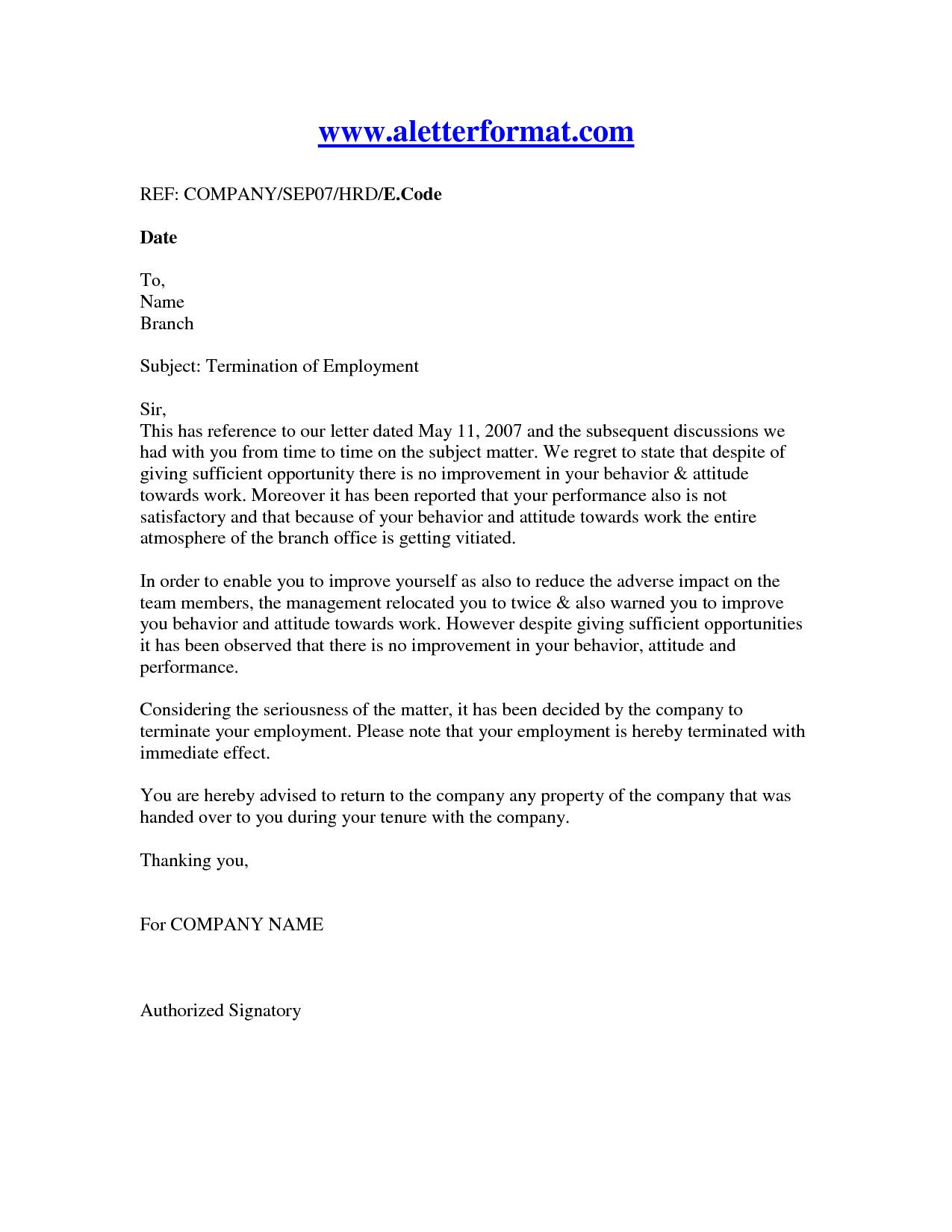 Sample Termination Of Employment Letter