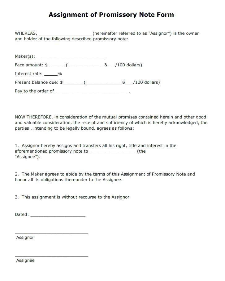 Sample Unsecured Promissory Note Form