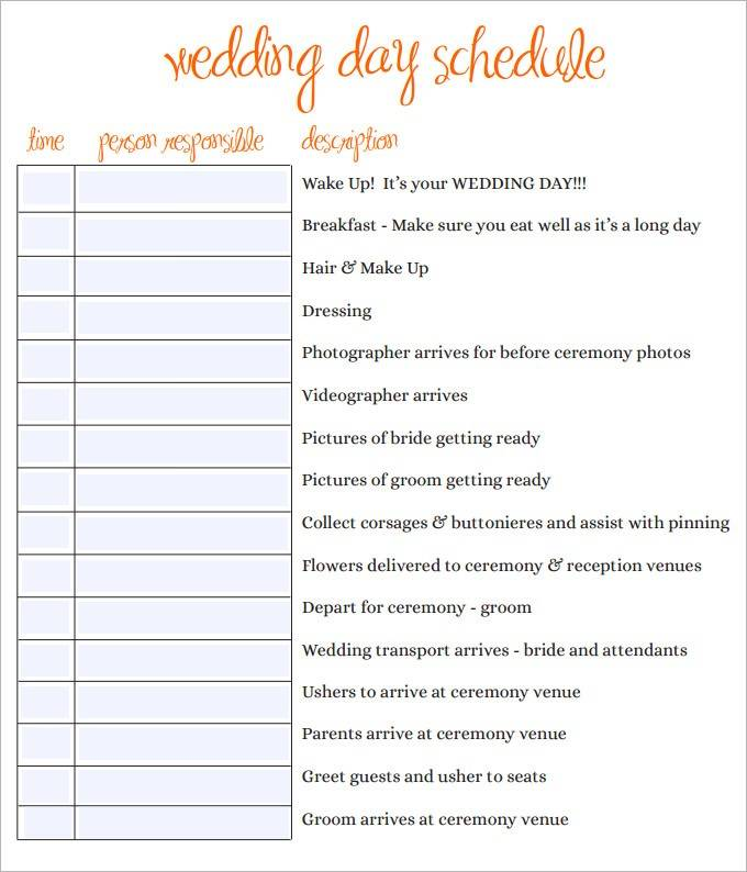 Sample Wedding Itinerary Template