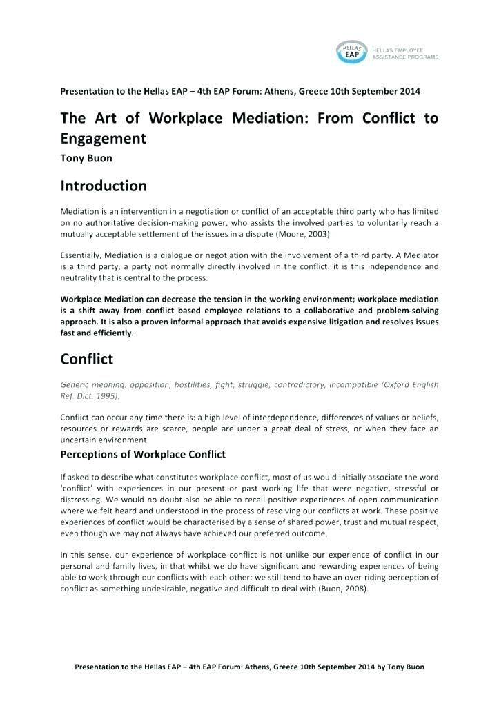 Sample Workplace Mediation Agreement Template