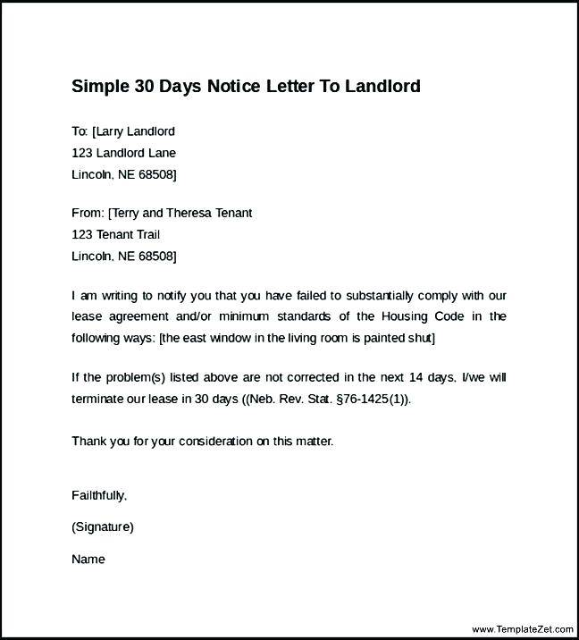 Samples Of 30 Days Notice To Landlord