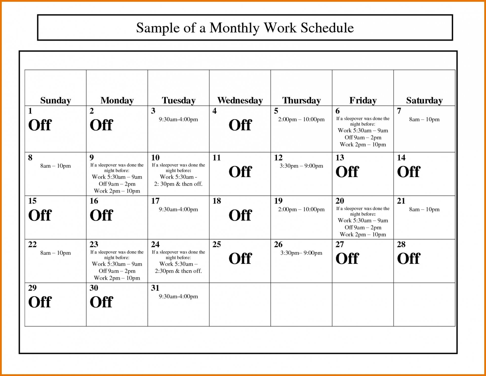 Schedule Calendar Template Monthly