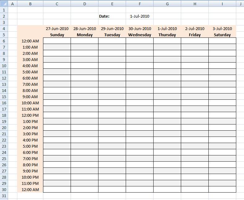 Schedule Planner Template Excel