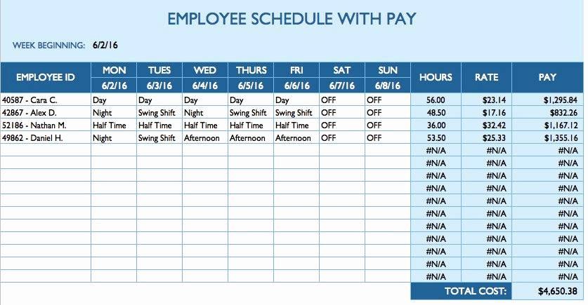 Scheduling Templates Excel