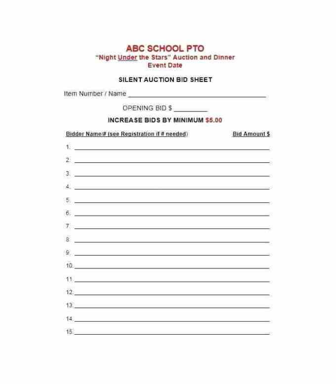 School Auction Catalog Template