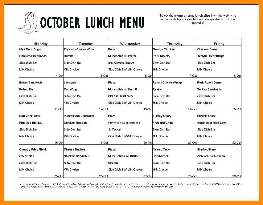 School Lunch Menu Planner Template