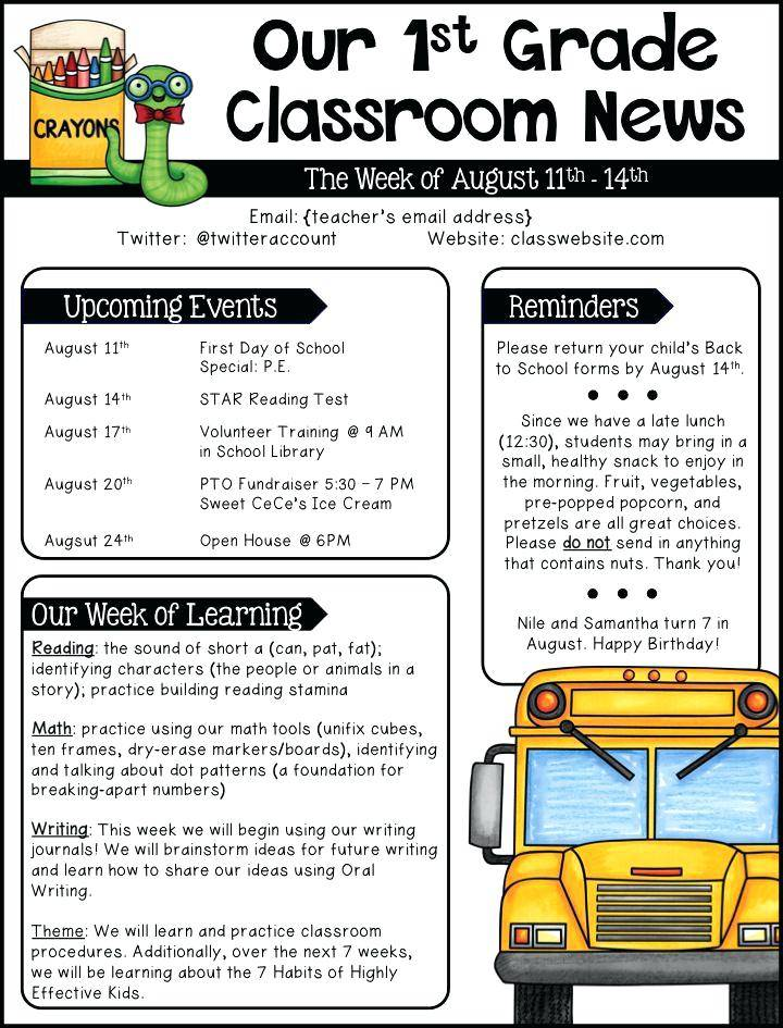 School Monthly Newsletter Templates Free