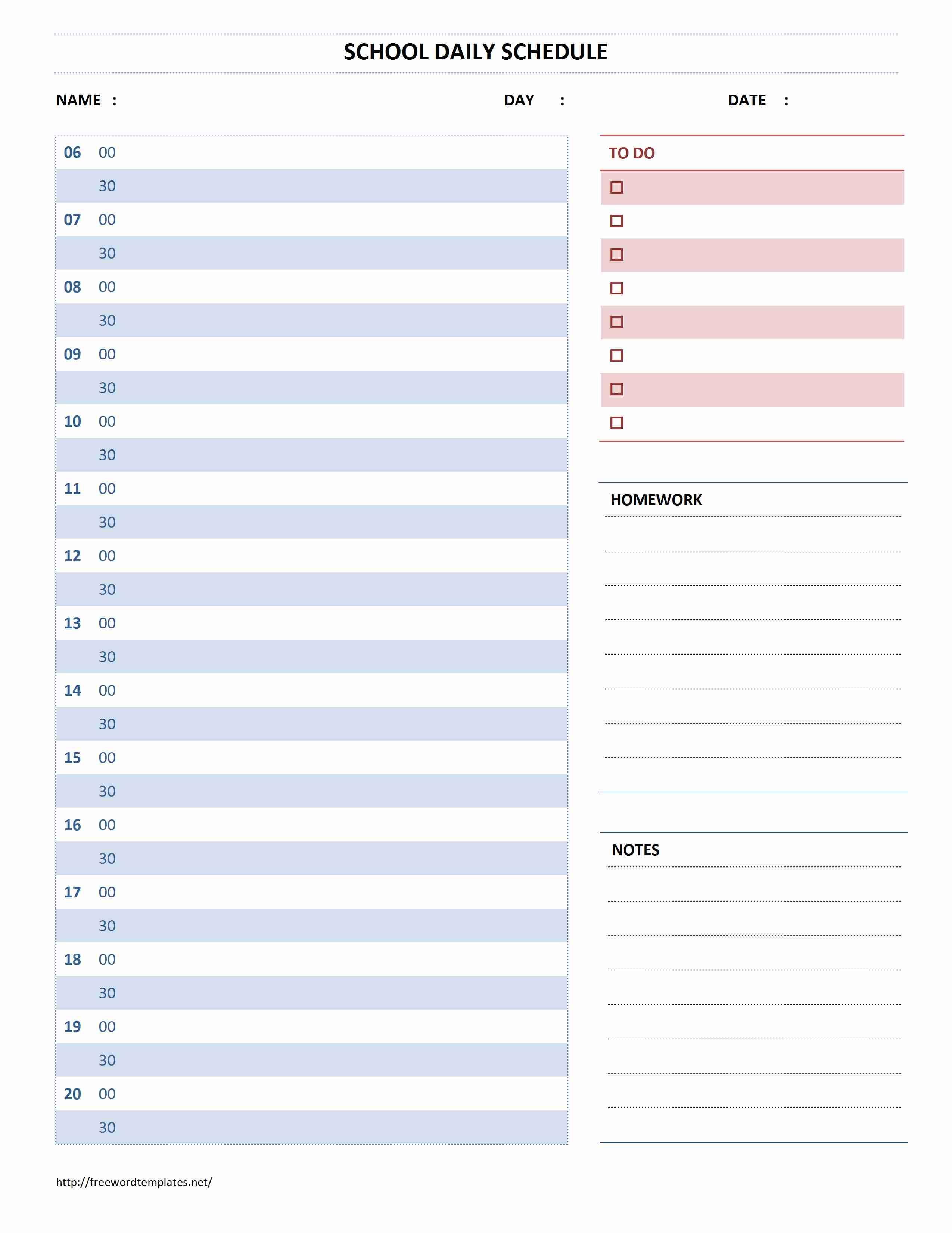 School Schedule Planner Template
