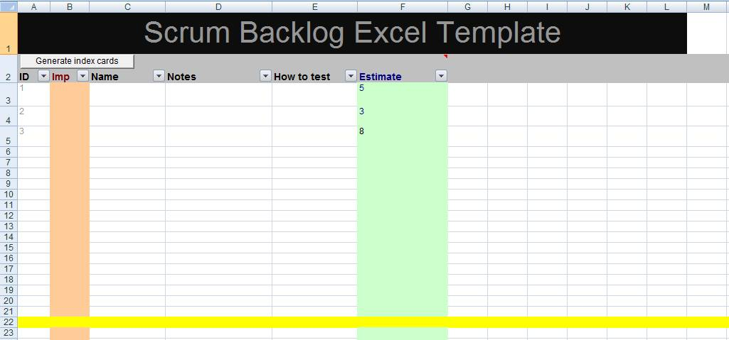 Scrum Backlog Template Excel