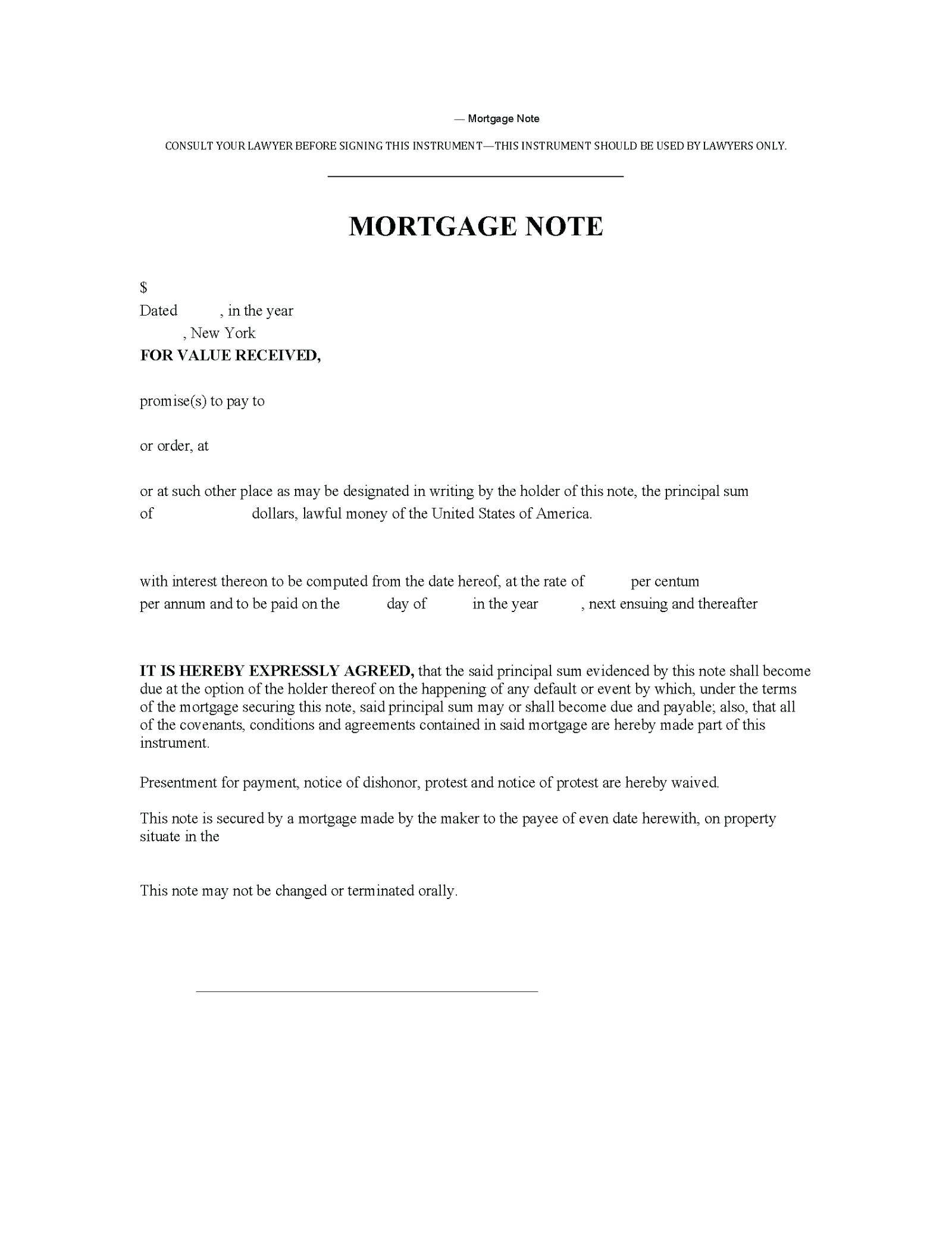 Second Mortgage Agreement Template