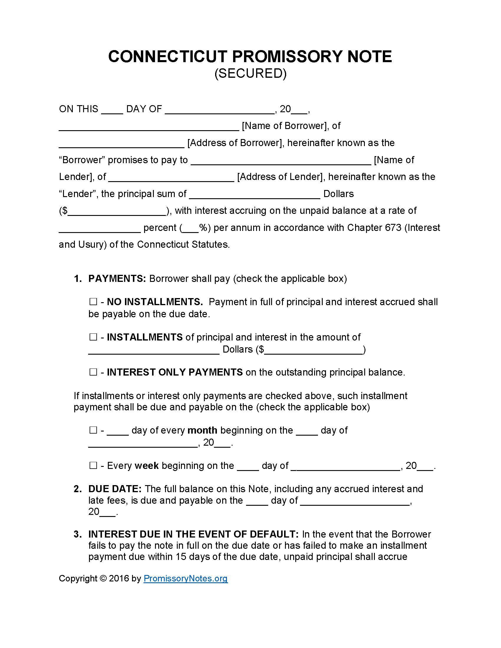 Secured Promissory Note Template Word