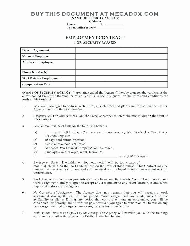 Security Guard Service Agreement Template
