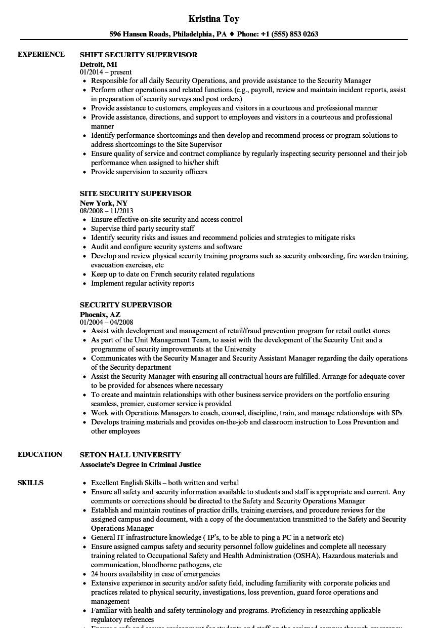 Security Supervisor Resume Templates