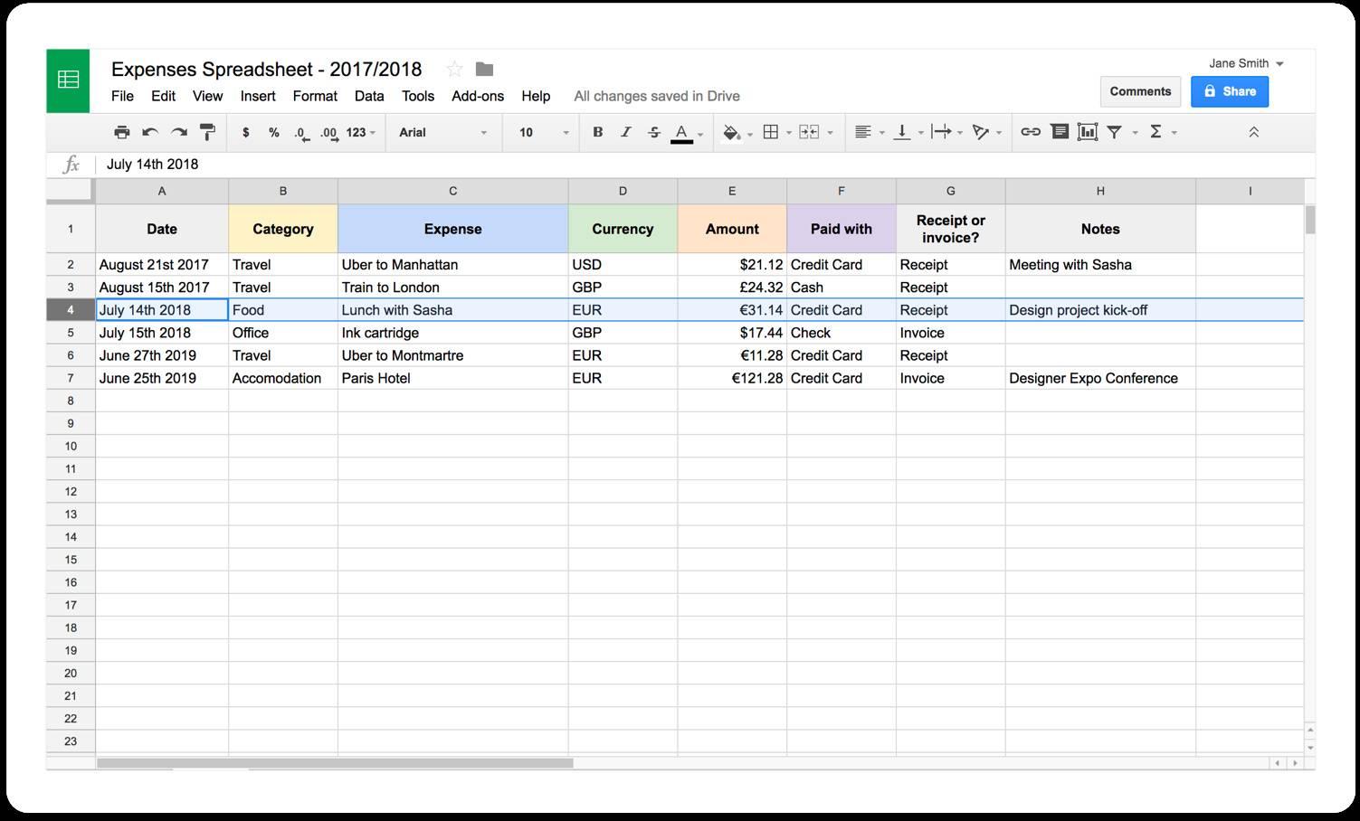 Self Employed Spreadsheet Example