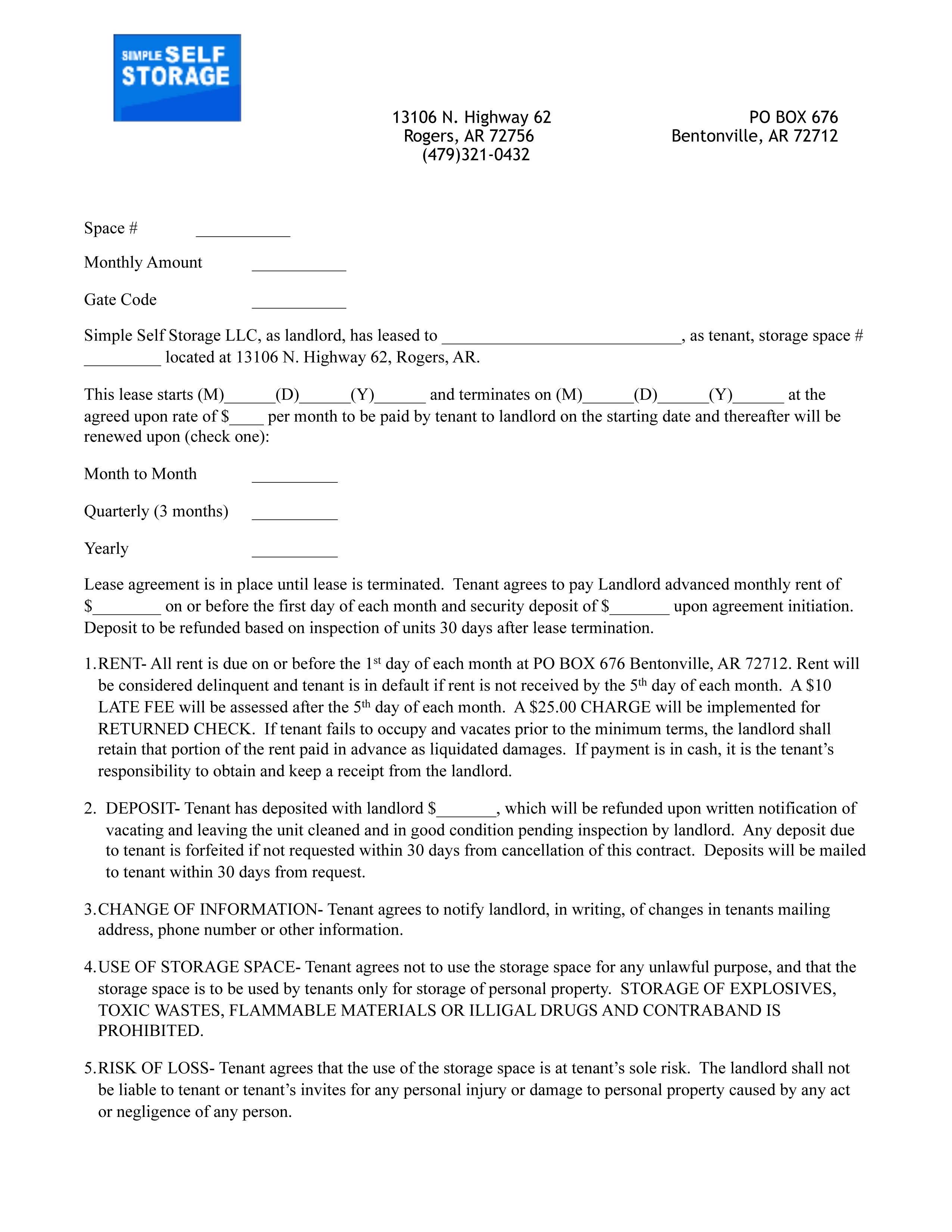 Self Storage Rental Agreement Template