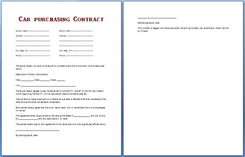Selling Car Contract Template Uk