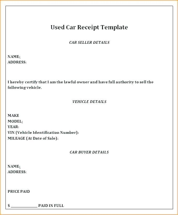 Selling Car Contract Template