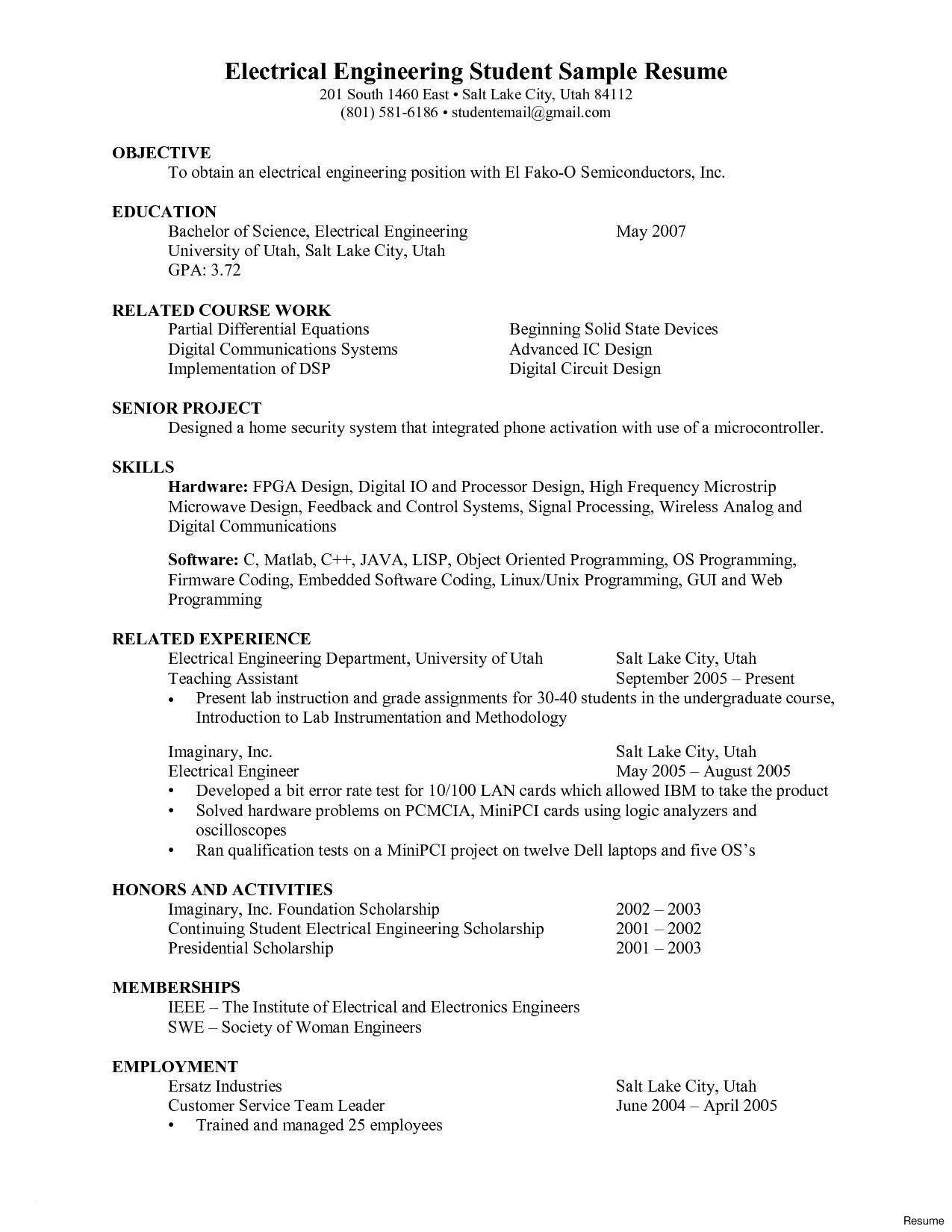 Senior Electrical Engineer Resume Template